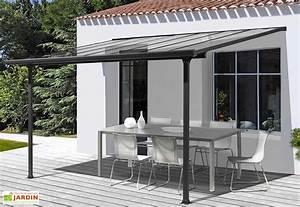 Pergola En Aluminium Gris Et Polycarbonate 307x300x299cm