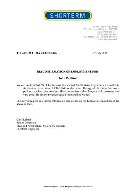 letter confirming employment confirmation employment letter