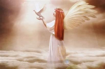 Angel Wings Angels Clouds Redhead Fantasy Wallpapers