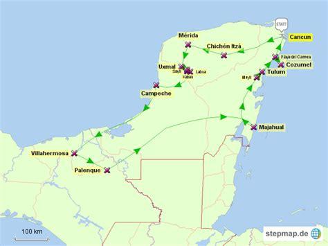 stepmap mexiko yukatan rundreise  landkarte fuer mexiko