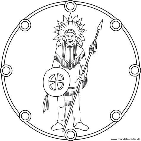 mandala ausmalbild indianerhaeuptling mit kopfschmuck