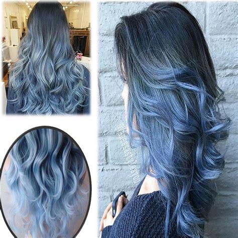 Womens Ladies Ombre Wig Grey Black Blue Long Wavy
