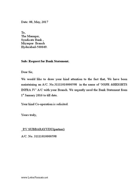 bank statement request letter   bank manager