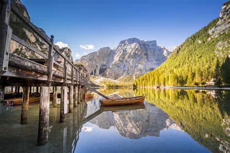 Lake Braies Lago Di Braies Dolomiti Mountains Italy