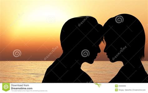silhouette kissing  loving couple royalty  stock