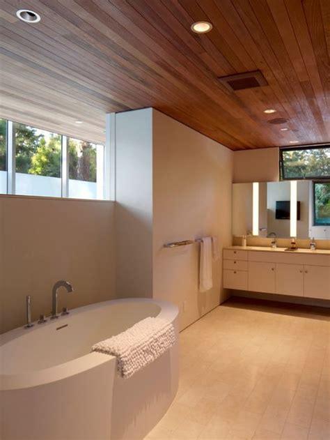 river rock bathroom ideas wood ceiling houzz
