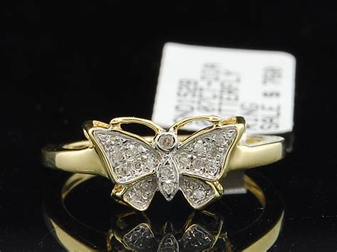 Ladies 10k Yellow Gold Butterfly Diamond Engagement Ring