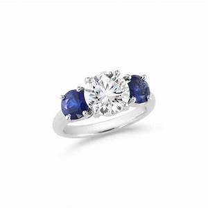 round brilliant three stone diamond sapphire engagement With diamond wedding ring with sapphire