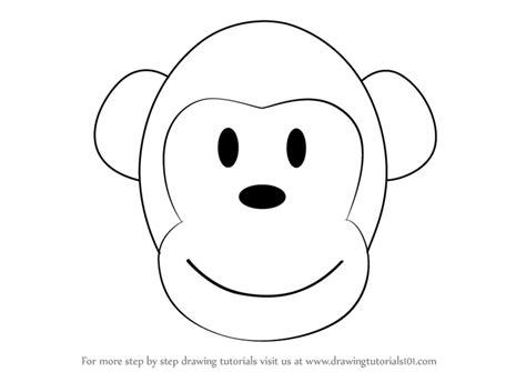 learn   draw  monkey cartoon face zoo animals step