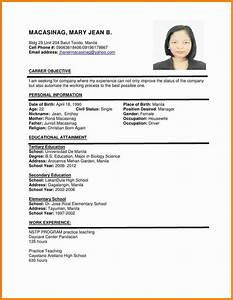 6  Example Of Filipino Resume Format