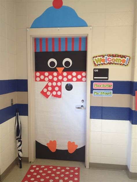 school door christmas decorating ideas penguin door dec some inspiration for a college