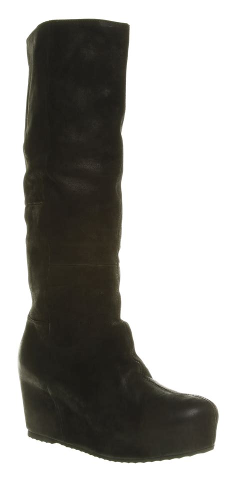 womens office  flat boot knee high black leather