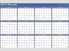 2019 Yearly Calendar Template Vertical Printable 2018