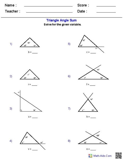 triangle angle sum worksheets places to visit