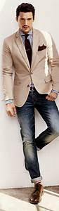 The cream blazer with blue jeans and brown tie/shoes ...