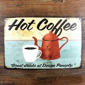 Plaque Vintage Metal : vintage metal painting hot coffee poster crafts retro cafe bar tin sign antique plaque iron ~ Teatrodelosmanantiales.com Idées de Décoration