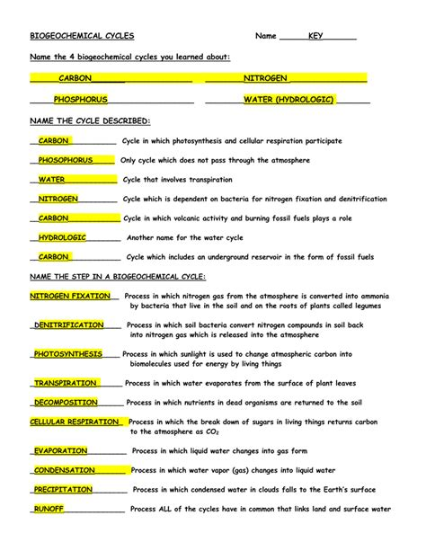 Biogeochemical Cycles Worksheet Worksheets For All  Download And Share Worksheets  Free On
