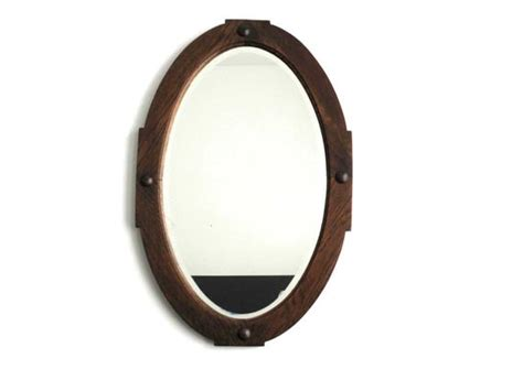 Antique Wood Framed Oval Wall Mirror Vintage By