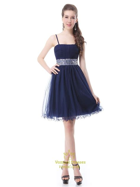 navy blue homecoming dress  beaded waist  spaghetti