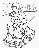 Coloring Winter Printable Sledding sketch template