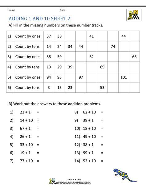 grade math worksheet adding 10 2nd grade addition worksheets