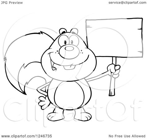 clipart   black  white happy squirrel holding