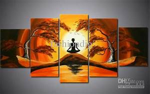 oil painting canvas african landscape painting meditation With best brand of paint for kitchen cabinets with abstract panel wall art