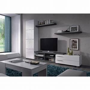 Meuble Tv Mural Blanc : adhara meuble tv mural 240 cm blanc gris achat vente ~ Dailycaller-alerts.com Idées de Décoration