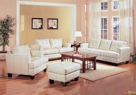 Samuel Cream Off White Bonded Leather Living Room Sofa