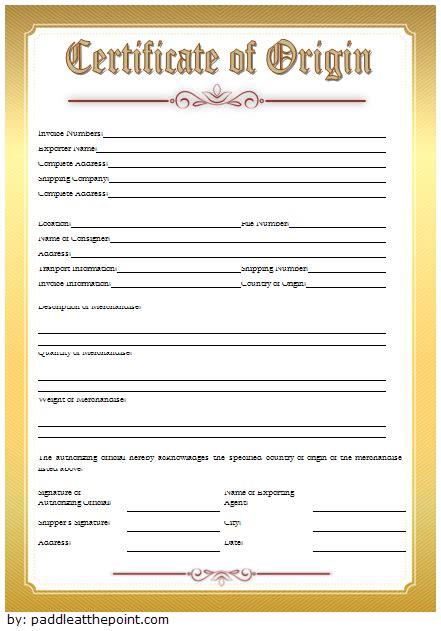 certificate  origin template  exclusive designs