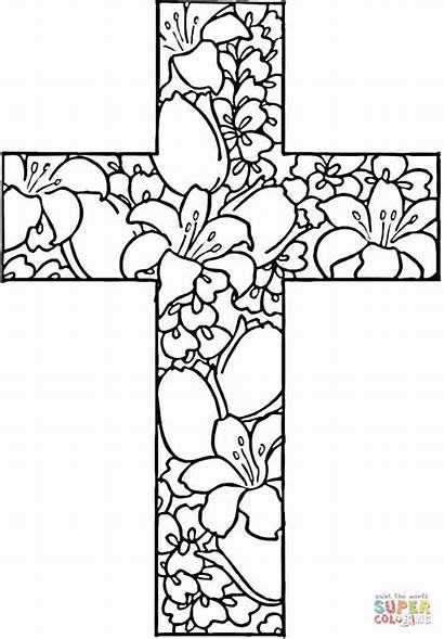 Coloring Pages Printable Cross Flowers Craft Adult
