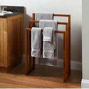 Home Bathroom Hailey Teak Towel Rack Wall Mounted Bathroom Towel Rail Holder Storage Rack Shelf Bar Hanger Chrome Finish Bathroom Towel Rack Holder Towel Bar Hanger W New Towel Holder 3 Swivel Bars Aluminium Bath Rack Rail Bathroom Towel