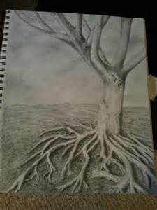 Pencil Drawing Tree and Roots