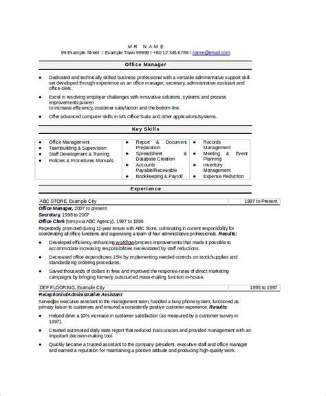 sample secretary resume  examples  word