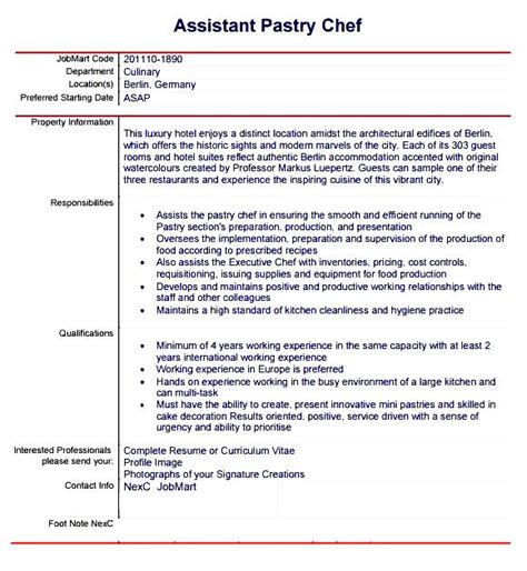 Pastry Chef Resume Templates by Pastry Chef Resume Template Free Sles Exles Format Resume Curruculum Vitae Free
