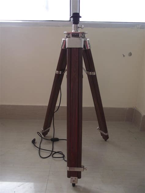 tripod floor lamp stand brown wood chrome lamp home and