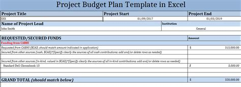 project budget plan template  excel excelonist