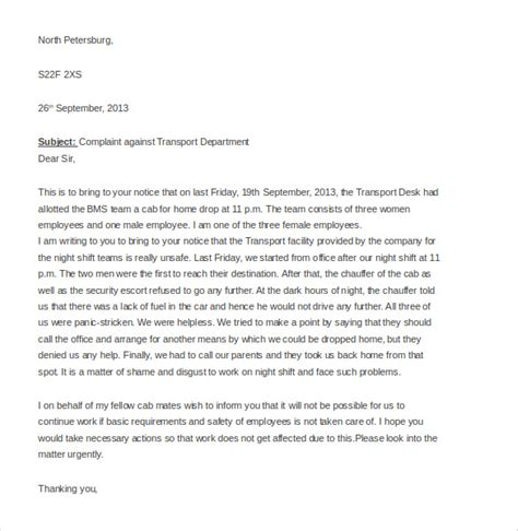 employee complaint letter   word  documents