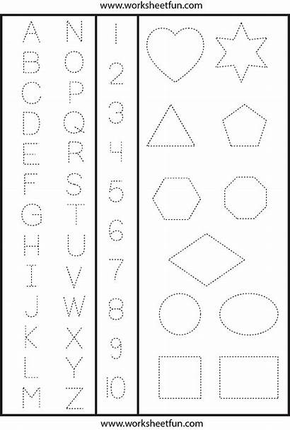 Numbers Shapes Tracing Worksheetfun Letters Printable Worksheets