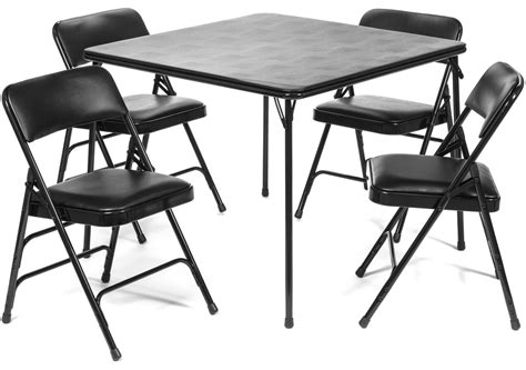 card table chairs set 5pc xl series folding card table and vinyl padded chair