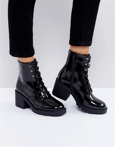 asos denim rory lace  boots  black lyst