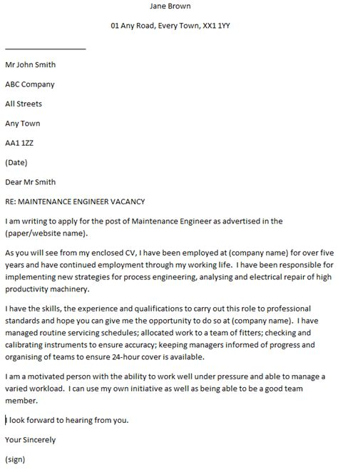 Maintenance Cover Letter Exles by Maintenance Engineer Cover Letter Exle Learnist Org