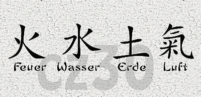 wandtattoo chinesische zeichen cz feuer wasser erde luft