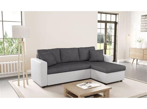 canapé blanc canapé d 39 angle réversible et convertible avec coffre gris