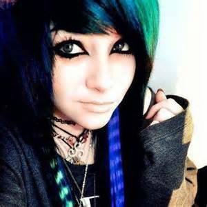 Emo Girls with Black Hair Blue Eyes