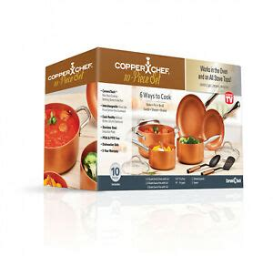 copper chef nonstick coating cookware pot  pan lid set cooking set  piece  ebay