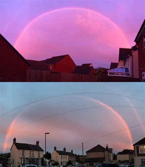 Pink Rainbow Very Rare Photographed Over Parts Of England