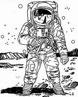 Moon Astronaut Coloring Realistic Astronauts Draw Easy Pages Colouring Landing Space Sketch Drawing Drawings Adults Google Sketches источник sketch template