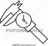 Caliper Outline Icon Fotosearch Clipart Millimeter Accuracy Measurement Instrument Dial Thin Equipment sketch template