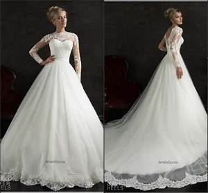 long sleeve amelia sposa white wedding dresses 2015 With winter lace wedding dresses